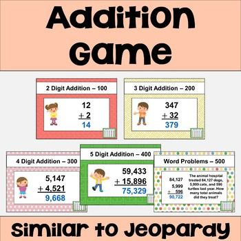 Addition Review Game - Similar to Jeopardy
