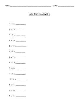 Addition Review Worksheets
