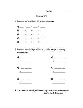 Addition Review and Word Problem Assessment