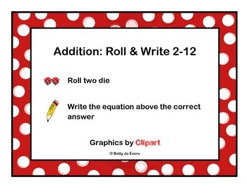 Addition Roll and Write 2-12