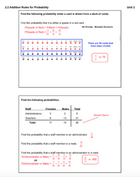 Addition Rules for Probability (Lesson Plan with Homework)