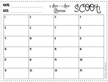 Addition SCOOT! Task Cards: 2-Digit plus 1-Digit 1.NBT.4
