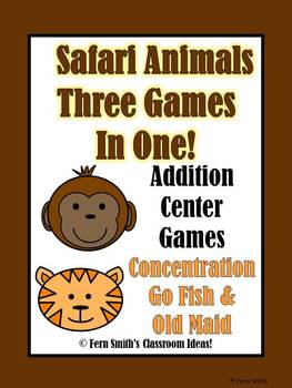 Addition Math Center Jungle Themed Games