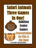 Addition Math Center Jungle Themed Games