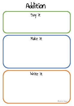 Addition - Say it, Make it, Write it Game