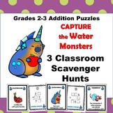 Addition Scavenger Hunt Puzzle Game Grades 3-4 Go Monsters