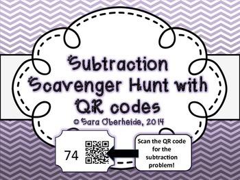 Subtraction Scavenger Hunt - with QR codes