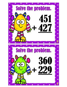 Addition Scoot - 3 Digit and 2 Addends - No Regrouping Monsters