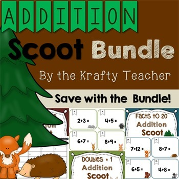 Addition Scoot Bundle Forest, Adding, Fun, Engaging, Kindergarten, First, Second