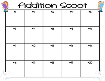 Addition Scoot Single Digit Addends