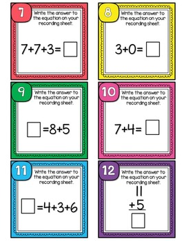 Addition Scoot or Task Cards