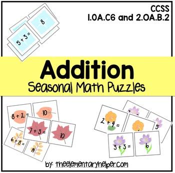 Addition Seasonal Math Puzzles
