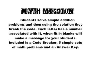 Addition Secret Math Mission