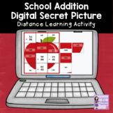 Addition Secret Picture Tiles | School Theme | Distance Learning