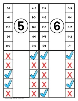 Addition Self Checking Clip Cards