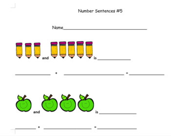 Addition Sentence Intro Worksheets!