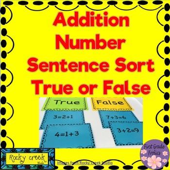 Addition Number Sentences True or False Sort