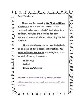 Addition Sentences for Kindergarten