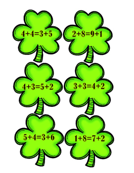 Addition Shamrocks:  Balance the Equation - True or False
