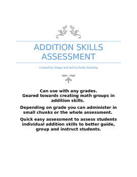 Addition Skills Assessment