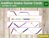 Addition Snake Game Cards - color coded