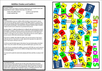 Addition Snakes and Ladders