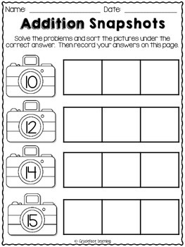 Addition Snapshots - Addition Fact Practice for Facts 10-22