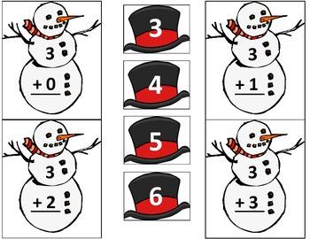 Addition Snowman: Find the Snowman's Missing Hat Math Center