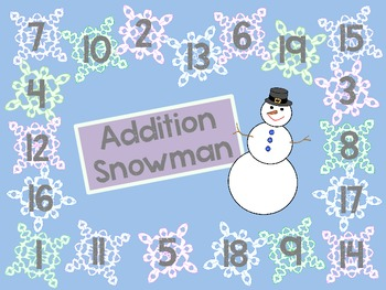 Addition Snowman Game to practice facts up to 20