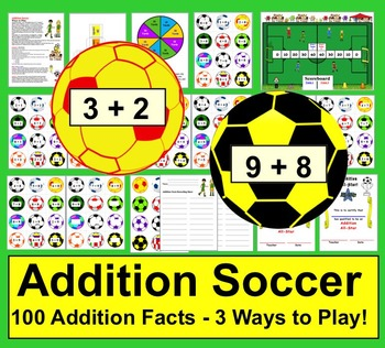 Addition Soccer - 3 Ways to Play  ★ Over 100 addition fact