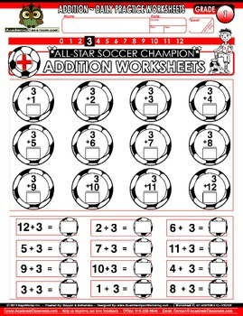 Addition Soccer Theme 0-12 Practice Worksheets -Core Curriculum Learning Support