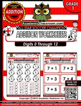 Addition Soccer Theme 0-12 Practice Worksheets -Core Curri