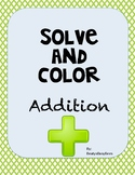 Addition Solve and Color- Animals