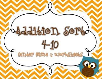 Addition Sort Center Game & Worksheets