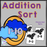 Addition Sorts 1-10: Halloween Haunted Moons And Bats