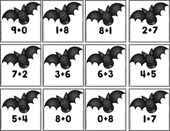 Addition Sorts 1-10: Halloween Haunted Moons And Bats