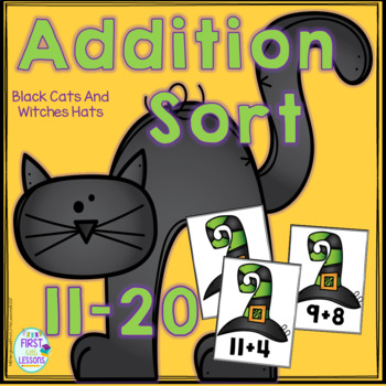 Addition Sorts 11-20: Halloween Black Cats And Witch's Hats