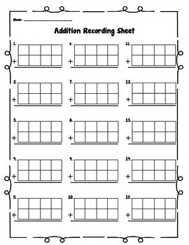 Addition Spinners and Recording Sheet