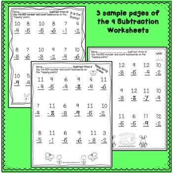 """Addition Spring Worksheets with """"Tap 'n Count"""" points"""