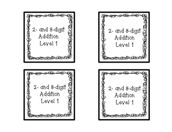 Two and Three Digit Addition Square Puzzle-Level 1