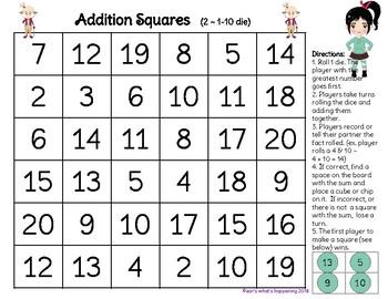 Addition Squares - Adding 1 -20 - Wreck It Ralph