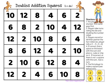 Addition Squares - Doubles - Toy Story