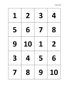 Addition Squares - Facts to 20