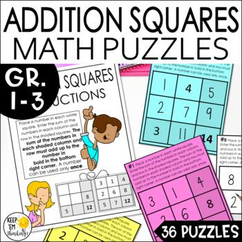 Addition Squares Math Logic Puzzle Task Cards