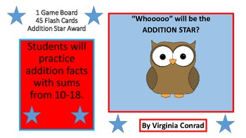 Addition Fact Practice  Game (facts 10-18)