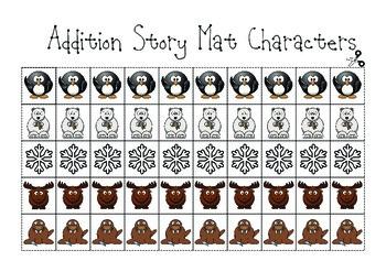 Addition Story Mats Math Workstation (Winter Theme)