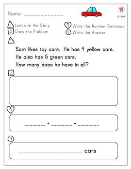 Addition Story Problem About Cars- Freebie!