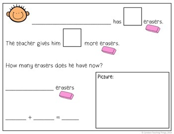 School Themed Story Problem Mats - Addition