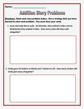 Addition Story Problems (Common Core) 12 Questions