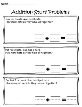Addition Story Problems- Decodable